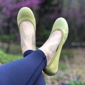 Born Julianne Yellow Green Leather Ballet Flats